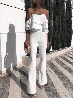 Shop Solid Ruffled Design Off Shoulder Jumpsuit right now, get great deals at joyshoetique White Outfits, Classy Outfits, Summer Outfits, Casual Outfits, Classy Casual, Look Fashion, Fashion Outfits, Womens Fashion, Fashion Trends
