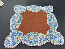 "Vintage Pretty Floral Brown Blue Scalloped Edge Handkerchief Hankie 12"" (MAR)"