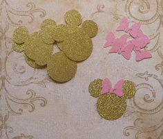 Baby Minnie Gold Glitter Mouse Head Shapes by sandylynnbscrapping