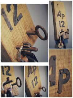 Key holder. Reclaimed wood. Rusty numbers. Old key