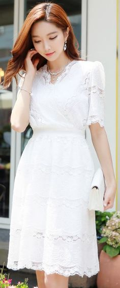 StyleOnme_All Over Lace Short Sleeve Flared Dress #white #dress #lace #elegant…