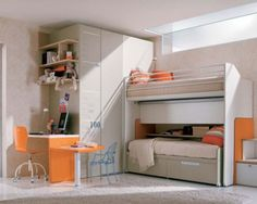 teen room, Girl Bedroom Design Ideas With Small Space With Fur Rug And Ceramic Tile Floor Design With Orange Desk Design And Chair For Bedroom Furniture Ideas With Wardrobes And Wallshelf With Bed Level And Pillow: Cute Girl Room Ideas With Comfortable Bed