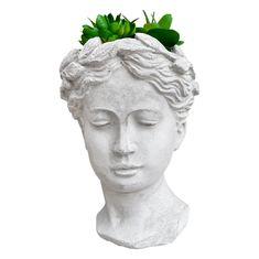 Greek Goddess Bust Concrete Planter // Concrete Greek Goddess | Etsy