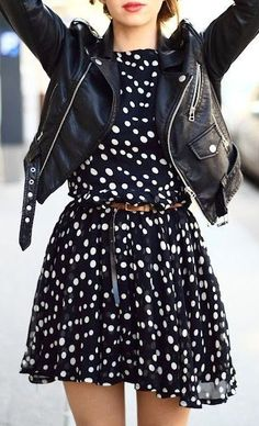 polkda dot dress and leather jacket.mmmmmm i have a cute dress and i have a leather jacket. It SCREAMS a church outfit for my style! Look Fashion, Street Fashion, Fashion Beauty, Autumn Fashion, Womens Fashion, Fashion Edgy, Fashion Shoes, Dress Fashion, Feminine Fashion