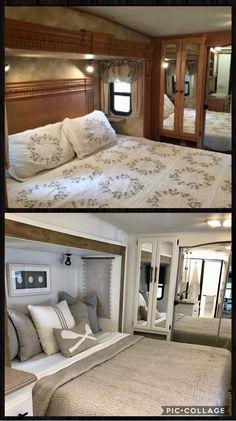 Travel Trailer Living, Travel Trailer Remodel, Campervan Interior, Rv Interior, Diy Cabin, Rv Redo, Rv Homes, Trailer Decor, Camper Makeover
