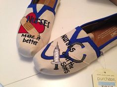 These hand painted toms feature several items that nurses use such as their syringe and stethoscope as well as the ability to mend shown by the