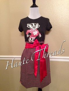 Wisconsin Badgers Football Basketball Gameday Dress (from Victorias Secret PINK tee)  by hautethreadsboutique, $52.50