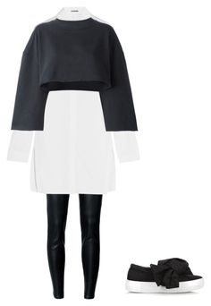 """Black and white minimal outfit"" by jahd on Polyvore featuring moda, MICHAEL Michael Kors, Jil Sander, Joshua's e adidas Originals"