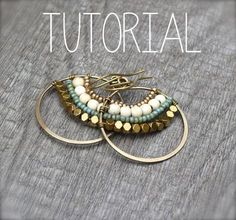In this tutorial you will learn step by step how to make these fun, bohemian Gypsy Hoops. These can be made in a variety of metals and beads, diy jewelry earrings Gypsy Hoops Tutorial Wire Jewelry, Jewelry Crafts, Beaded Jewelry, Jewelery, Handmade Jewelry, Jewellery Box, Wire Rings, Silver Jewelry, Personalised Jewellery