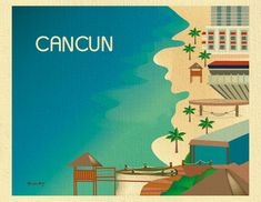 Cancun Art, Mexico Skyline Print, Riviera Maya , Cancun Travel Art Poster, Cancun Gift, Cancun Vacation, Mexico resort city - style E8-O-CAN