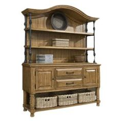 Hand-planed wood sideboard with three removable rattan baskets.  Product: SideboardConstruction Material: Rattan and metalColor: NaturalFeatures:  Distressed finishDimensions: 48 H x 64 W x 16 DNote: Hutch not includedCleaning and Care: Wipe with damp cloth