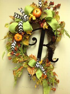 Monogram. Fall wreath. I would change it up a bit.