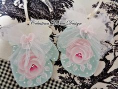 Shabby Aqua Mitten Set Hand Painted and by CelestinaMarieDesign
