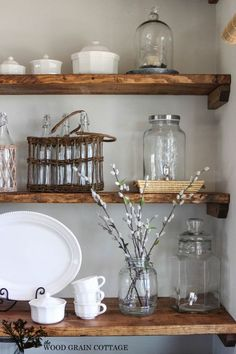 Styled Dining Room Shelving - The Wood Grain Cottage~~~ I love the dark wood shelves and white dishes. Dining Room Shelves, Kitchen Shelves, Glass Shelves, Dining Rooms, Pine Shelves, Wall Shelves, Closet Shelves, Dining Tables, Kitchen Storage
