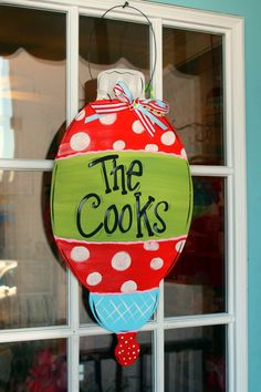 Christmas Door Decor Hand Painted Personalized by ladeedahart, $39.00