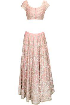 KRISHNA MEHTA Baby Pink zardozi embroidered lehenga set available only at Pernia's Pop Up Shop.