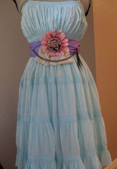 Summer Chic Upcycled Dress and Victorian Sash SZ S