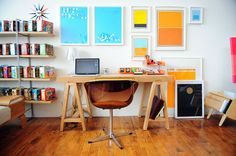 love all the things on the wall for a studio space. great inspiration and we can each give our side personality!