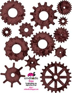 Rusty gears for scrapbooking free download of clipart or buy knk svg cutter image file