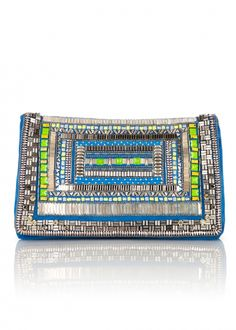 Matthew Williamson Fully Embellished Clutch Bag in Silver (Peacock) - Lyst Embellished Clutch Bags, Clutches For Women, Boho Bags, Leather Clutch Bags, Matthew Williamson, Fabric Manipulation, Michael Kors Bag, Purses And Bags, Neon