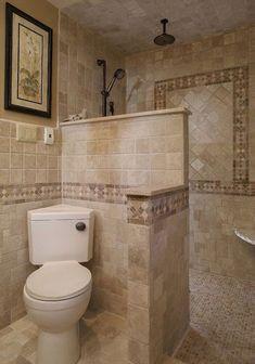 Mediterranean Home doorless shower Design Ideas, Pictures, Remodel and Decor Corner toilet! Master Bathroom Shower, Tiny House Bathroom, Bathroom Design Small, Basement Bathroom, Bathroom Ideas, Tiny Bathrooms, Bathroom Remodeling, Remodeling Ideas, Budget Bathroom