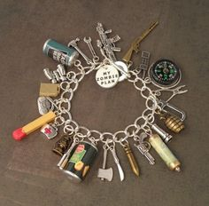 Zombie apocalypse check list charm bracelet....oh my Darcy would love this sucker