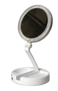 Floxite 7504-12l 12x Led Lighted Folding Vanity and Travel Mirror, White, Frosted White