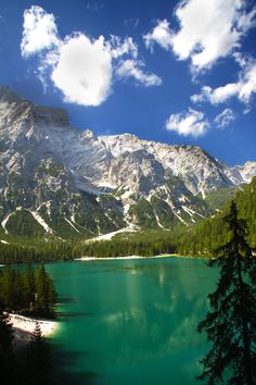 Lake Braies, Dolomites, Italy.  Go to www.YourTravelVideos.com or just click on photo for home videos and much more on sites like this.