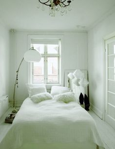 You can skip the headboard in favor of a few inches of more floorspace. | 23 Hacks For Your Tiny Bedroom