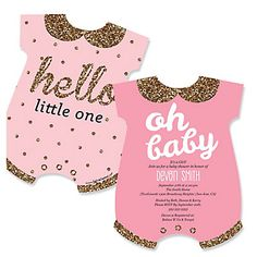 Hello Little One - Pink and Gold - Girl Baby Shower Invitations - BabyShowerStuff.com Baby Girl Shower Themes, Baby Shower Princess, Unique Baby Shower, Floral Baby Shower, Baby Shower Invites For Girl, Baby Shower Favors, Baby Shower Decorations, Baby Shower Invitations, Diaper Invitations