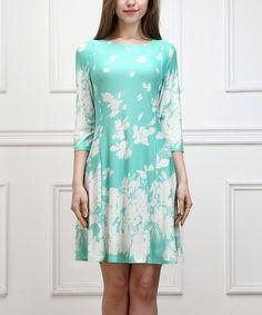 Another great find on #zulily! Aqua Floral Shift Dress #zulilyfinds