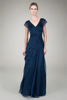 Tiered Chiffon Gown in Navy