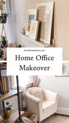 You won't believe the difference in this boho minimalist home office makeover! Ideas for making a small room into your dream home office. Mobile Home Kitchens, Makeover Before And After, Ikea Chair, Office Makeover, Home Office Organization, Declutter Your Home, Small House Design, Do It Yourself Home, Decorating On A Budget