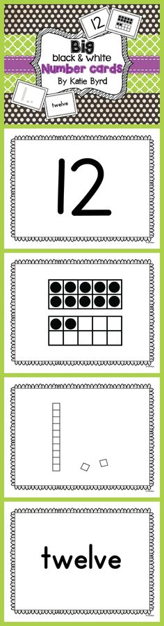 BIG Black & White Number Cards - Big cards for fun learning activities in your classroom. 80 cards including numeral, ten frames, base ten blocks, and number words for 1-20. $