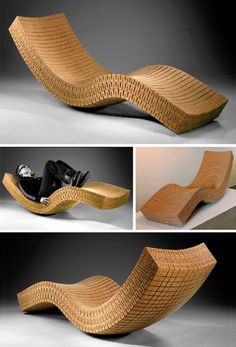 Chaise longue made from cork. Cork is a totallynatural and renewable material that we need to encourage alongside many other natural sustainable materials.(creative and can shape to the confortable shape of your body)