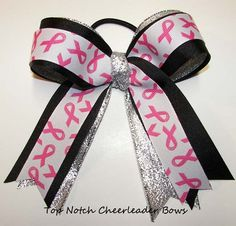 Breast Cancer Awareness Ponytail Holder Cheer Bow