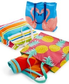 Closeout! Martha Stewart Collection Cotton Beach Tote, Created for Macy's - Beach Party