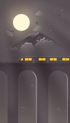 Train at night illustration Cool Wallpaper, Mobile Wallpaper, Wallpaper Backgrounds, Train Wallpaper, Minimalist Wallpaper, Minimalist Art, Landscape Illustration, Digital Illustration, Train Illustration