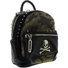 Bad Girl Backpack (600 CAD) ❤ liked on Polyvore featuring bags, backpacks, black, womenbagsbackpacks, studded bag, zipper bag, daypack bag, zip bag and rucksack bags