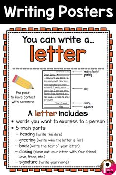 Writing Center Posters and Writing Paper Templates Great posters for any elementary classroom writing center! Help students learn the elements to writing letters. Comes with writing paper templates! English Writing Skills, Writing Lessons, Teaching Writing, Writing Activities, Learning Resources, Letter Writing For Kids, Letter Writing Template, Informal Letter Writing, Writing Posters