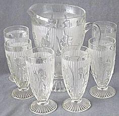 Vintage Iris & Herringbone Pitcher & 6 Footed Glasses