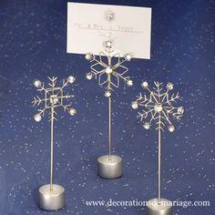 Les 3 marque-places flocon de neige - Décorations de mariage