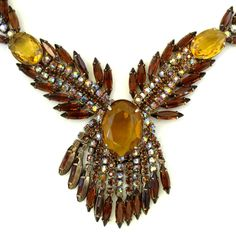 Vintage Massive Amber Rhinestone Dangle Necklace and Earring Set  http://www.rubylane.com