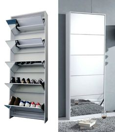 Organizedlife White Wooden Shoe Cabinet Mirror Shoe Organizer with with 5 Racks ** Continue to the product at the image link. (This is an affiliate link) Shoe Storage Ottoman Diy, Ikea Shoe Storage, Shoe Storage Solutions, Diy Ottoman, Shoe Storage Cabinet, Vertical Shoe Storage Ideas, Shoe Storage Mirror, Furniture Storage, Furniture Design