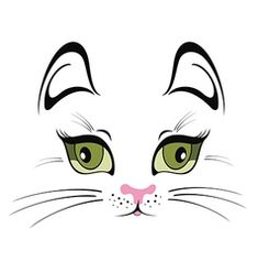 Funny cat with red bow vector image on VectorStock Anime Faces Expressions, Bow Vector, Cat Tattoo Designs, Cartoon Eyes, Stencil Art, Cat Pattern, Rock Crafts, Cat Drawing, Cat Face