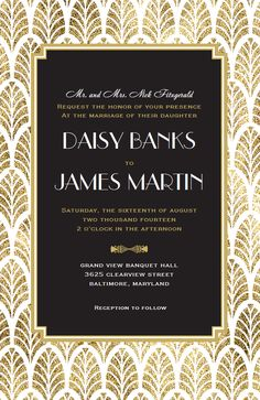 Gatsby Wedding Invitation   Vistaprint
