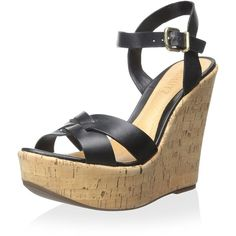 Schutz Women's Joyce Wedge Sandal ($67) ❤ liked on Polyvore featuring shoes, sandals, woven shoes, cork wedge sandals, wedge sandals, wedge heel shoes and schutz footwear