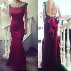 Red Round Neckline Mermaid Evening Prom Dresses, 2017 Beaded Party Prom Dress, Custom Long Prom Dresses, Cheap Formal Prom Dresses, 17041