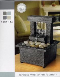 Indoor fountains  - Pin it :-) Follow us, CLICK IMAGE TWICE for Pricing and Info . SEE A LARGER SELECTION of indoor fountains at http://azgiftideas.com/product-category/indoor-fountain/  - gift ideas , home decor   -   Veranda Cordless Tabletop Meditation Fountain (Square Waterfall)