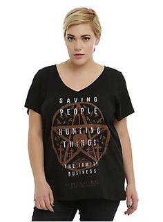 "<p>Life as a Winchester: saving people, hunting things. It's definitely a family business. Fitted black V-neck T-shirt from <i>Supernatural</i> with a ""Family Business"" pentagram design on front.</p>  <ul> 	<li>50% cotton; 50% polyester</li> 	<li>Wash cold; dry low</li> 	<li>Imported</li> </ul>"